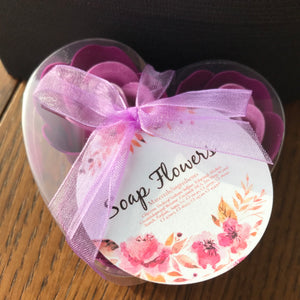 lavender soap roses in heart box