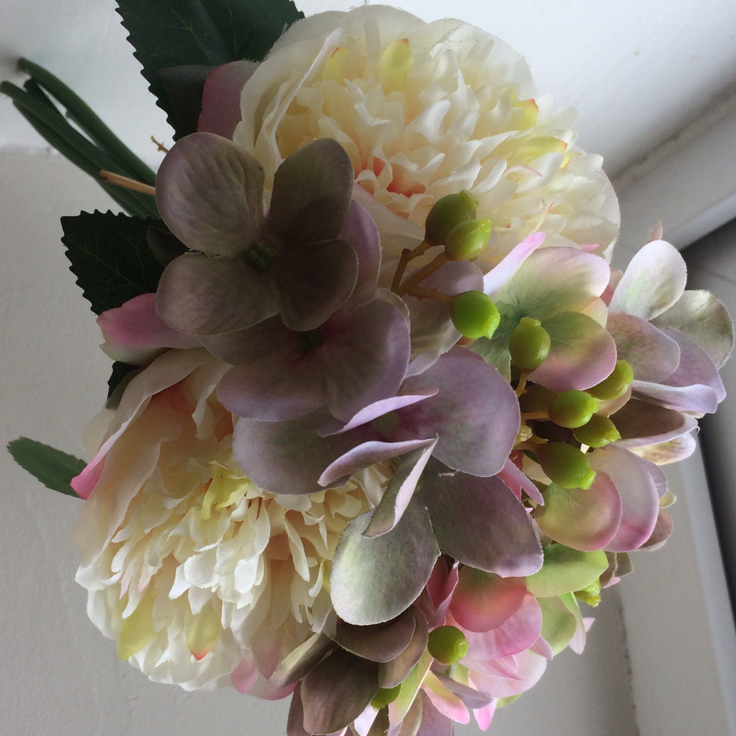 A bunch of hydrangea and peonies - cream