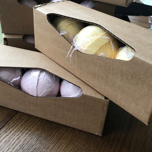 pk 3 essential oil bath bombs in box - peppermint & eucalyptus