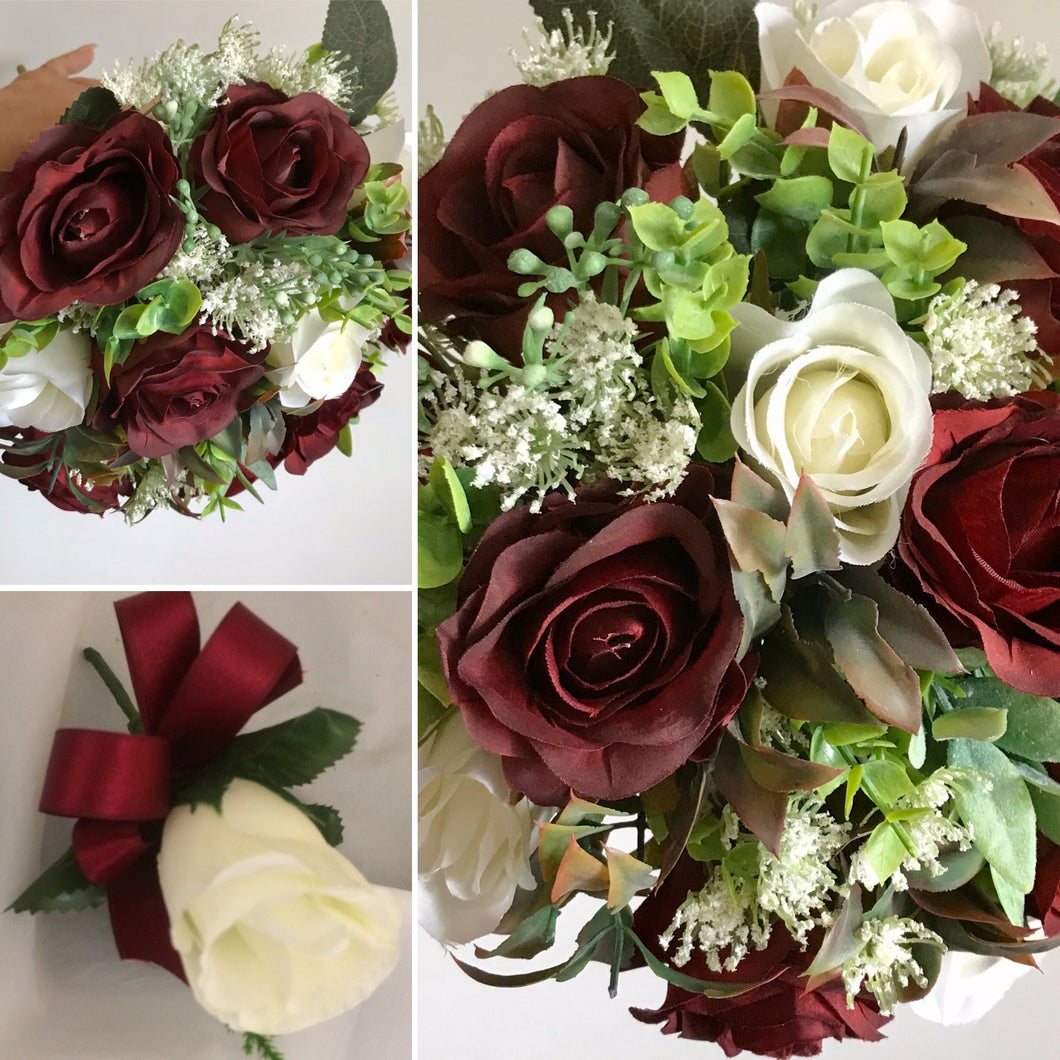 artificial bouquets of ivory and burgundy roses