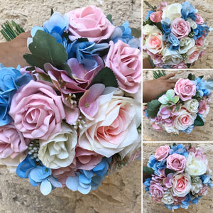 pink and blue artificial wedding bouquet
