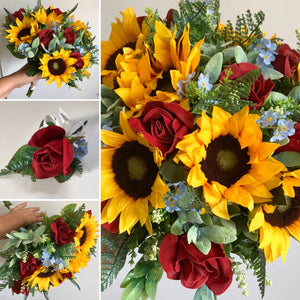 artificial wedding bouquets of sunflowers and roses
