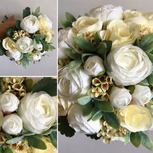 artificial bouquets of ivory and lemon flowers