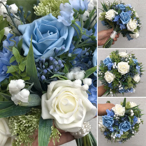 an artificial wedding bouquet of blue and ivory foam faux roses