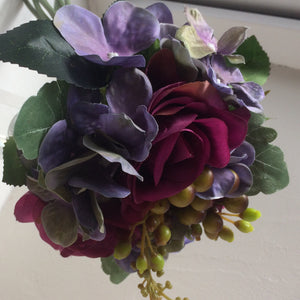 A bunch of hydrangea and roses - plum