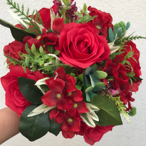 artificial wedding bouquets  of red roses and hydrangea