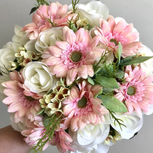 handtied wedding bouquet of artificial gerbera and roses