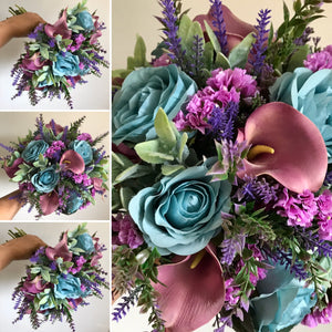artificial bouquets of teal purple and mauve flowers