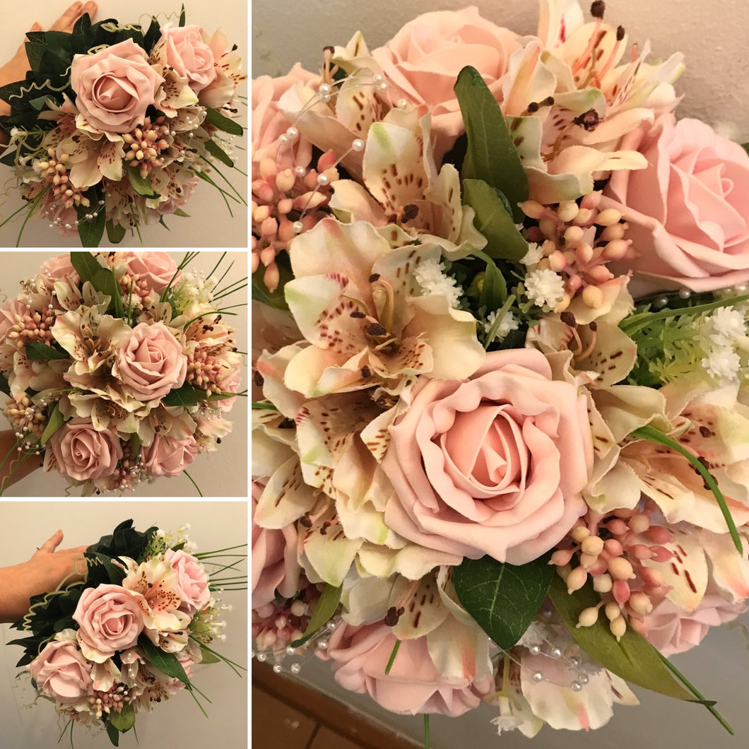 a wedding bouquet of astromeria and gyp