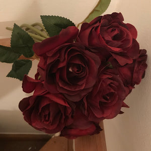 faux silk burgundy roses