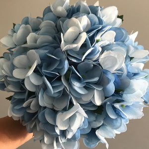 A bouquet collection of blue hydrangea