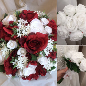 a collection of red and white wedding bouquets