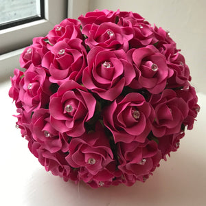 LAST ONE - A bridal bouquet of cerise foam rose flowers