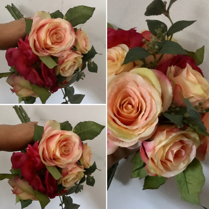 a posy of artificial rose flowers