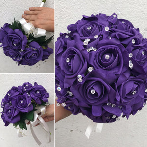 a wedding bouquet of artificial foam roses