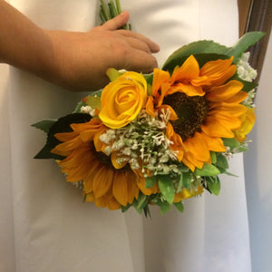 artificial sunflower wedding bouquet