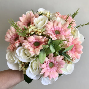 artificial wedding bouquet of pink gerbera and ivory roses