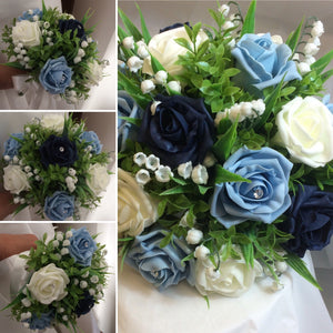 a collection of bouquets using artificial foam roses