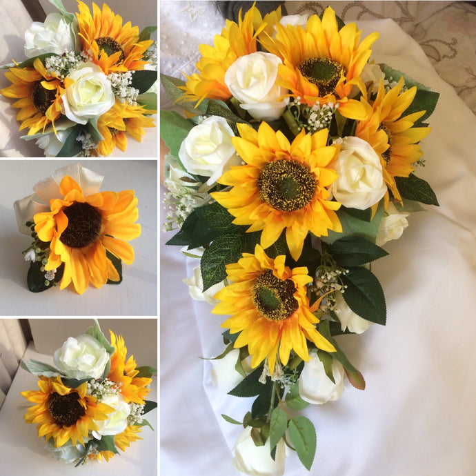 artificial sunflower wedding bouquets
