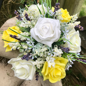 - A wedding bouquet collection of yellow, lemon & white roses