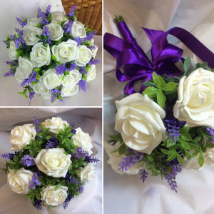 A wedding bouquet collection of artificial ivory & lavender flowers