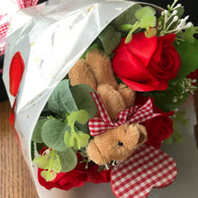 A bouquet of 6 red soap roses, teddy and gingham wooden heart