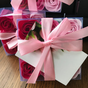 9 Boxed Rose Soap flowers - pink