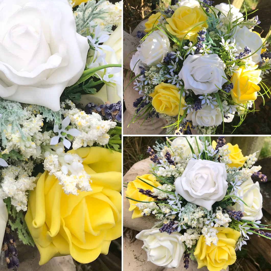 yellow lemon foam wedding bouquets