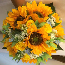 artificial sunflower wedding bouquet with blue forgetmenots