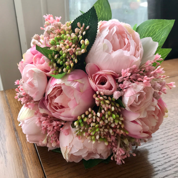 artificial pink peony wedding bouquet