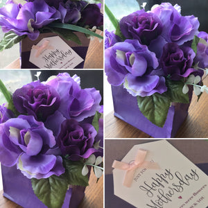 purple silk flower gift arrangement