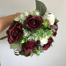 ARTIFICIAL WEDDING BOUQUET OF IVORY AND BURGUNDY ROSES