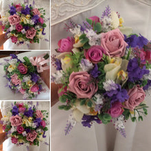 artificial wedding bouquet of dusky rose lwmon and purple