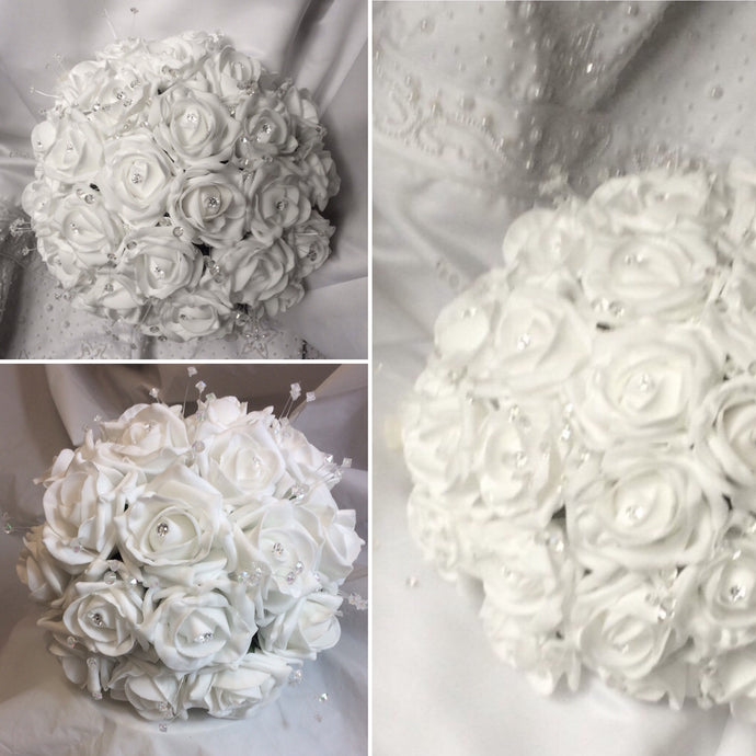 a bouquet collection of foam roses and diamante strands