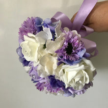 a wedding bouquet collection of ivory & lilac roses, daisies & hydrangea flowers