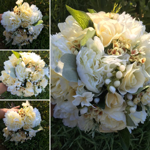 A brides bouquet of lemon and Ivory artificial flowers