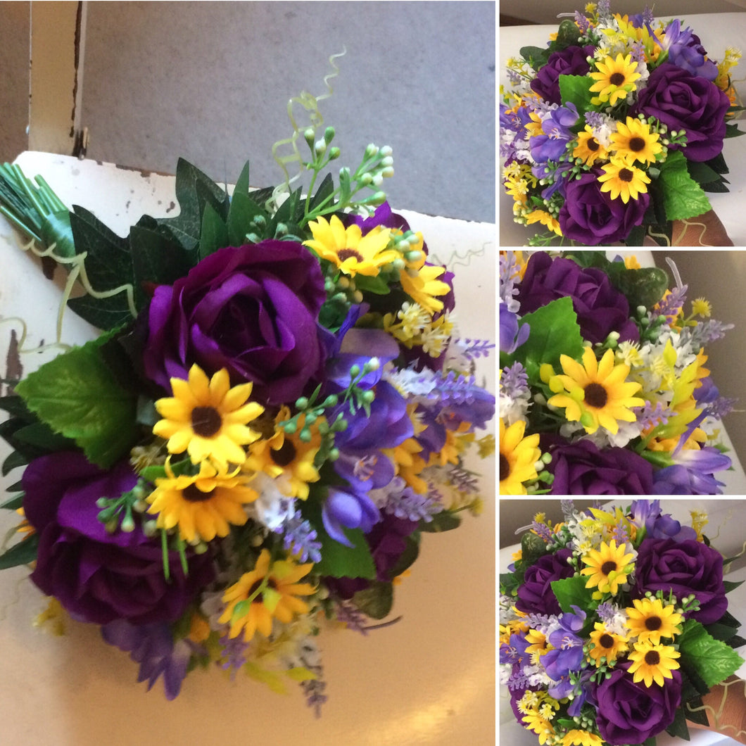 a bouquet collection of silk flowers in shades of yellow and purple