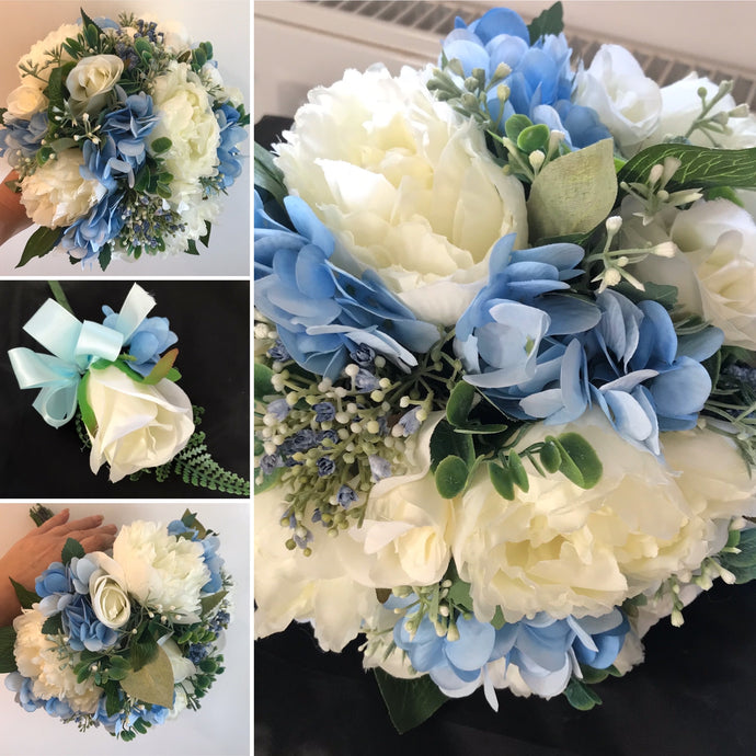 A wedding bouquet collection of artificial blue and ivory peonies and roses