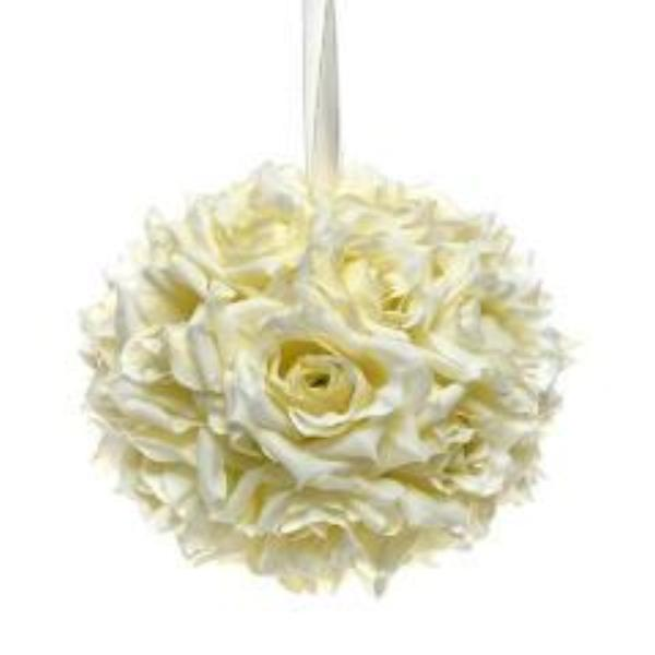 bridesmaids ivory silk rose pomander