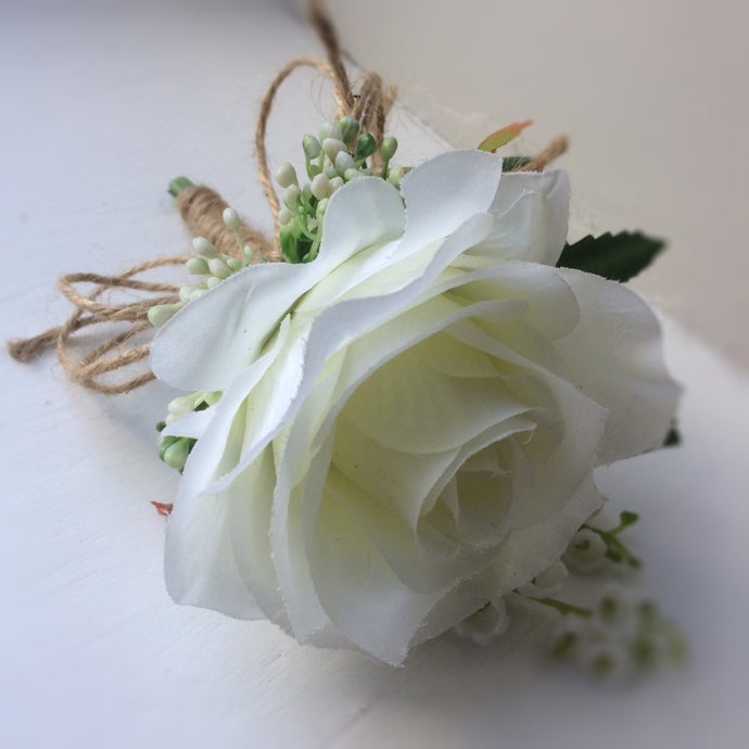 ivory silk rose buttonhole