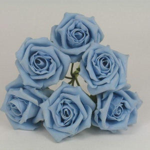 A pack of 6 foam rose buttonholes with pearl loops(choice of 36 colours)