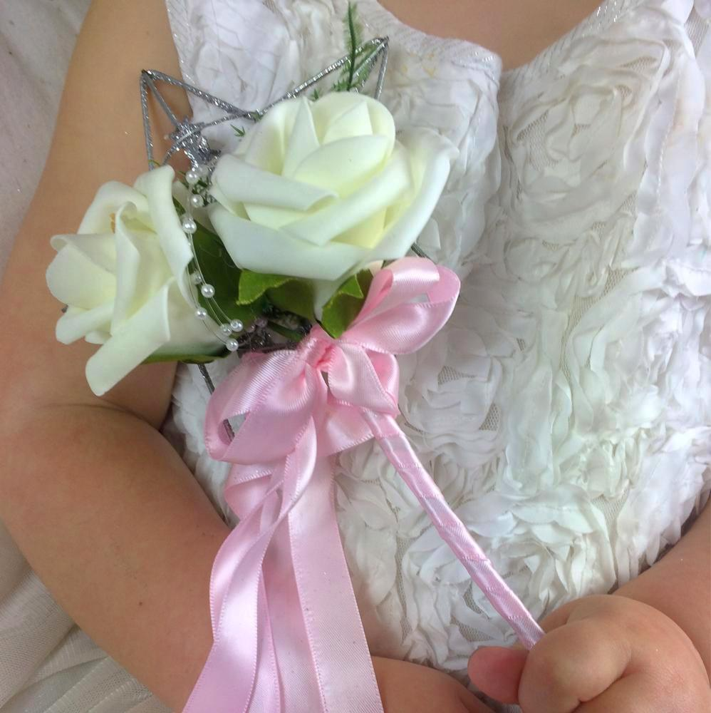 a bridesmaid flower wand ivory roses pink ribbon