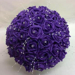 brides bouquet of purple foam roses