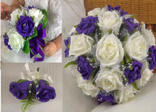- A wedding bouquet collection of ivory & purple foam roses diamante centres & pearl loops