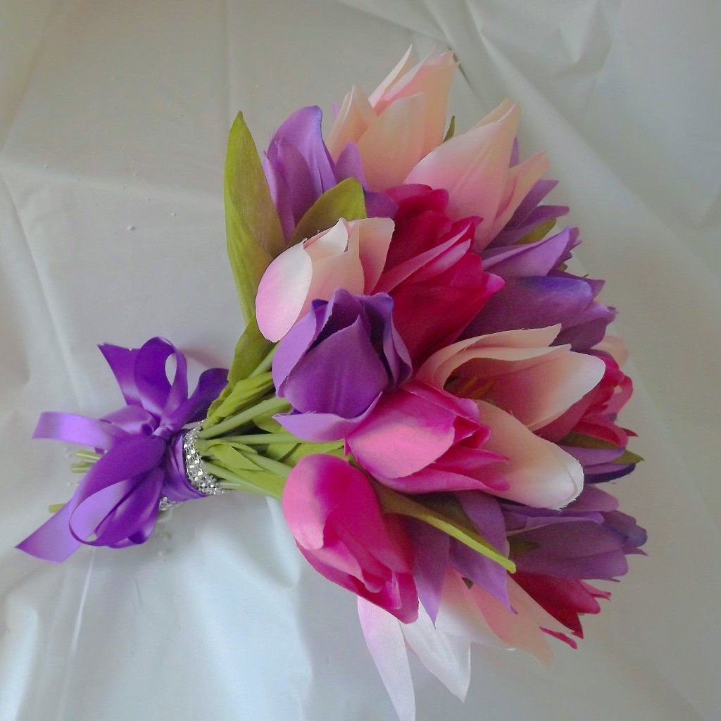 wedding bouquet of artificial silk tulips