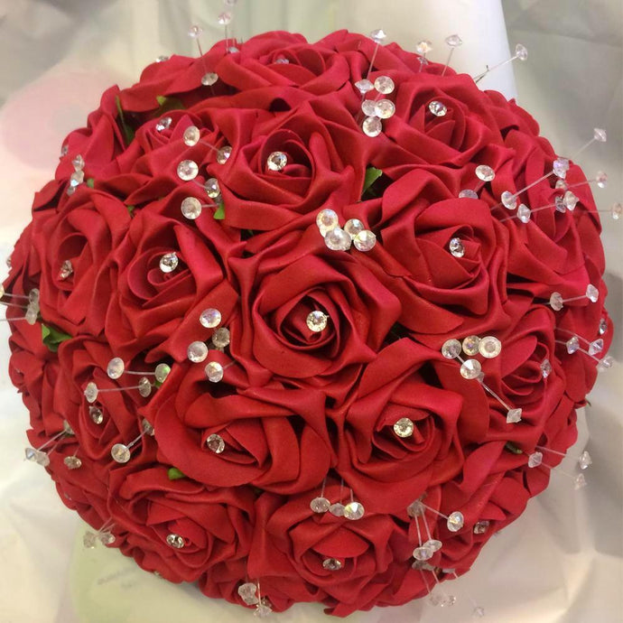 brides red rose bouquet with chrystals