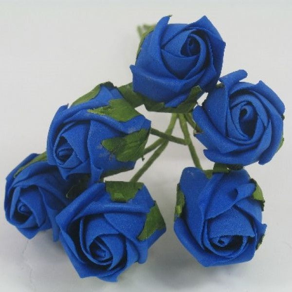 royal blue 4cm foam rose bud