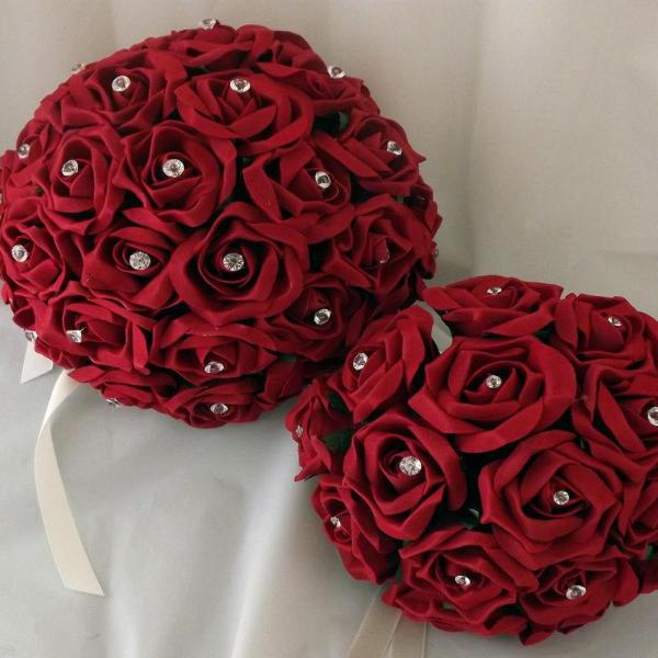wedding bouquet using artificial foam red roses