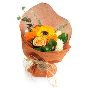 orange soap flower bouquet