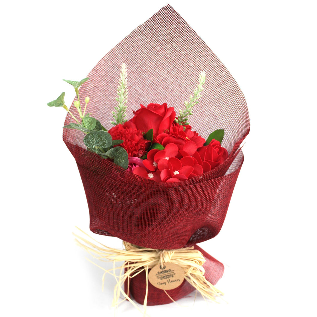 soap flower bouquet red